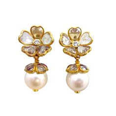 CHANEL Gripoix Glass and Round Pearl Drop Earrings, France c1981