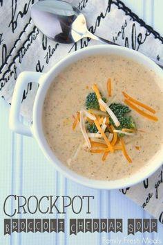 Crockpot Broccoli Cheddar Soup -- Family Fresh Meals