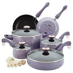 Paula Deen 15 pc Lavender Cookware Set - Speckled Kmart Item# 011W005423236001 | Model# 13064