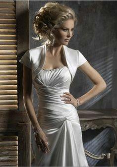 Collarless Satin Short Sleeves Wedding Jacket - Angeldress.co.uk