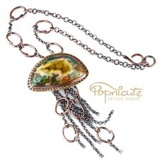 Jellyfish Pendant Necklace Handmade Chain Link Bubbles Artisan Jewelry   popnicute - Jewelry on ArtFire