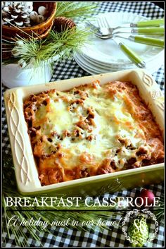 BREAKFAST CASSEROLE-a must on our Christmas brunch table. Make ahead dish! stonegableblog.com