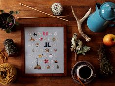 Credit: Posie Gets Cozy - Winterwoods Cross Stitch Pattern Cross Stitch Sampler Patterns, Cross Stitch Samplers, Framing Supplies, Thread Organization, Projects For Adults, Embroidery Scissors, Getting Cozy, Decorating Blogs, Craft Tutorials