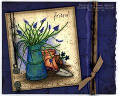 Pitcher & Lavender Blooms - Anna Wight by SweetMissDaisy - Cards and Paper Crafts at Splitcoaststampers Long Time Friends, Card Maker, Card Tags, Greeting Cards, Bloom, Paper Crafts, Floral, Stamping, Painting