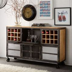 Evoke Industrial Rustic Chic Large Sideboard With Four Doors And Wine Rack