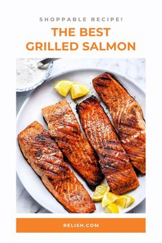 Easy grilled salmon that's perfect for spring and summertime grilling! Tilapia Recipes, Baked Salmon Recipes, Fish Recipes, Vegetable Recipes, Meat Recipes, Seafood Recipes, Vegetarian Recipes, Recipies, Best Grilled Salmon Recipe
