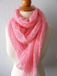 Linen Scarf Lace Shawl Knitted Natural Summer Wrap in by LaimaShop, $56.00