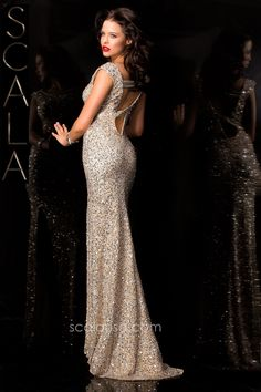 #SCALA Fall 15 style 48410 Champagne #Fall2K15 #Homecoming2K15 #Dress #Formal #Fancy www.scalausa.com