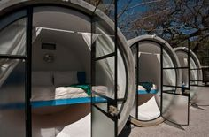 Hotel made out of recycled concrete pipes in Tepozilan Mexico. Each room is equipped with a queen size bed, lighting, a fan to cool off and a glass entry way. Curtains are provided for privacy in the intimate suites and the bathroom quarters are shared amongst the guests.