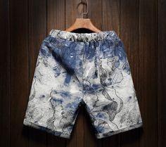 2017 Men's Beach Casual Art Shorts Comfort Printing Men's Linen M5 - Shorts
