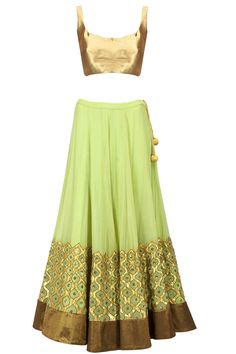 Muted lime green sequin gota applique lehenga set available only at Pernia's Pop-Up Shop. #blouse