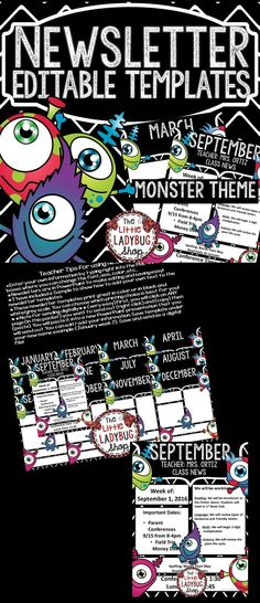 This Monster Theme Newsletter Template is EDITABLE and perfect for weekly/monthly class newsletter communication. It is a fantastic tool to use to communicate with school, parents, and families.