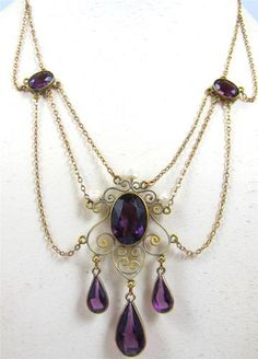 Antique Edwardian Amethyst Glass Seed Pearl Festoon Necklace 10K Extender Chain | eBay