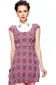 ROMWE | Buttoned Geometric Patterns Print Red Dress, The Latest Street Fashion #ROMWE