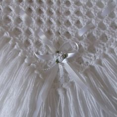 Made with love large white crochet baby blanket with ribbon and tassels £20.00