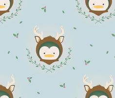 My Deer Penguin fabric by mydeardarling on Spoonflower - custom fabric  Carla Hilton needs this!