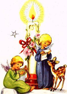 Vintage Christmas Card Angels Candle Baby Deer