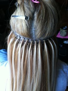 Perfect Micro-bead Hair Extension Placement- Long Island Hair Extension Artist. Seems like it would cause ALOT of damage