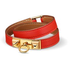 Hermès Rivale Double Tour Bracelet ($620) ❤ liked on Polyvore featuring jewelry, bracelets, red jewelry, red bangles, leather jewelry и leather bangle