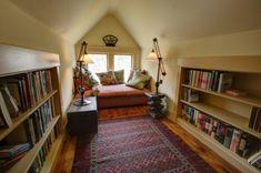 59 trendy home library ideas reading nooks attic spaces Home Library Design, Attic Library, Attic Design, House Design, Attic Office, Attic Closet, Cozy Library, Library Ideas, Library Corner
