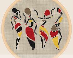 African dancing women - Cross stitch pattern