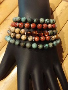 Items similar to Beaded Wrap Bracelet - African Turquoise Bracelet - Picture and red Jasper - Amber - Southwest Jewelry - Western on Etsy Beaded Wrap Bracelets, Ornament Wreath, Turquoise Bracelet, African, Jewellery, Trending Outfits, Unique Jewelry, Handmade Gifts, Etsy
