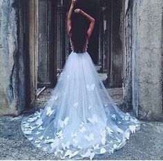 Wedding dress with butterfly