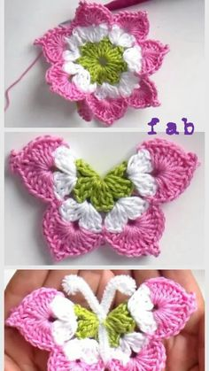 Crochet Granny Square Ideas Crochet Butterfly Free Pattern-Video - Crochet Butterfly Free Pattern-Video: crochet a eight pointed flower and fold them into a butterfly. Pattern in English and Spanish. Crochet Butterfly Free Pattern, Crochet Flower Patterns, Crochet Designs, Crochet Flowers, Knitting Patterns, Crochet Ideas, Pattern Flower, Knitting Toys, Crochet Birds