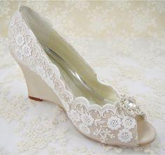 Wedding Shoes, Peeptoe Bridal Shoes, Rhinestone Wedge Shoes, Bridesmaid Shoes, Champagne Floral Pattern Lace Shoes, Ivory Lace Wedge Shoes by laceNbling on Etsy https://www.etsy.com/listing/220091601/wedding-shoes-peeptoe-bridal-shoes