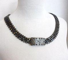 Chanel Pewter Bronze Links Metal Belt Necklace