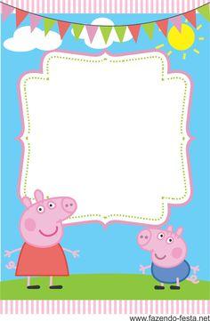 Convites gratuitos da Peppa Pig para aniversários. Convite da Peppa Pig para imprimir.   Oiieee!!!!   Encontrei um blog super fofo que dis...
