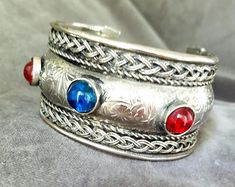 Vintage 70's ETHNIC SILVER CUFF with Red and Blue Cabochon Glass Inset Stones