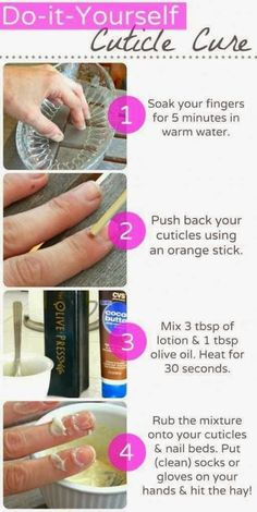 FRUGAL NAIL TIPS: Homemade Cuticle Treatment. Here is how to effectively manage those annoying hangnails and keep your nails looking healthy, all while sleeping! Make your own overnight cuticle treatment out of olive oil and cocoa butter. Shop Now! http://wonderful.jamberrynails.net Source: How to get Healthy Cuticles… While you Sleep! http://blog.julep.com/how-to-get-healthy-cuticles-while-you-sleep/