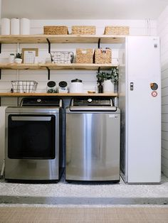 How We Designed a Family Friendly Laundry Room in our Garage - The Reveal! Family Friendly Laundry Room Design in our Garage. How to Hide the Ugly Laundry Room Utilities! Covering Breaker Boxes How-To: Floor painting stencil Tutorial Laundy Room, Home Renovation, Modern Kitchen Design, Home, Room Remodeling, Kitchen Design, Room Diy, Laundry Room Diy, Room Storage Diy