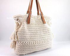 Crochet Bohemian Style Handbag, Crochet Boho Tote Bag, Shopper Bag, Beach Bag, Gift Idea