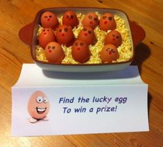 Lucky Eggs Fundraiser! - One of a tray of eggs has its base marked with a golden circle. Anyone who chooses it wins a prize. This makes a great Easter Fundraiser but can be used in all sorts of ways. These eggs had Red Noses for Comic Relief in the UK.