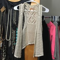 Crochet vest MUDD Crochet vest. Worn maybe twice. Great addition to an outfit. Pair it with a floral crop top and some cute high waist denim shorts! Mudd Jackets & Coats Vests