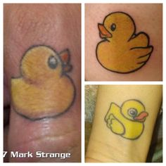 Rubber duck finger tattoo.
