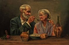 For Sale on - An Ageless Love, Canvas, Oil Paint by Unknown. Offered by The Illustrated Gallery. Elderly Couples, Aging Gracefully, Fashion Plates, Oil On Canvas, Watercolor Paintings, Attitude, Love, History, Gallery