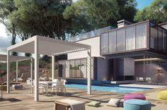 Shade è un gazebo di Atmosphera personalizzabile sia nel layout che nelle dimensioni, a seconda delle esigenze del cliente e ideale in terrazzi, giardini e dehors.