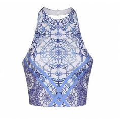 Ally Fashion Blue tile geo print halter neck crop top ($19) ❤ liked on Polyvore featuring tops, print, blue top, blue crop top, pattern tops, crop top and geometric tops