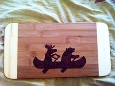 Bear and moose cutting board  by bitchNstitch2013 on Etsy