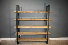 "Salvaged Urban Wood Shelf/Shelving Unit- W/ 5 Shelves For Storage - Modern Industrial 2"" Black Flat Steel"