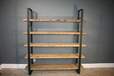 "Salvaged Urban Wood Shelf/Shelving Unit- W/ 5 Shelves For Storage - Modern Industrial 2"" Black Flat Steel"