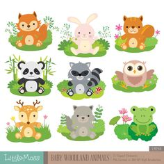 Baby Wild Animals Digital Clipart by LittleMoss on Etsy – BuzzTMZ Woodland Creatures Nursery, Woodland Nursery Decor, Woodland Baby, Woodland Animals, Deer Nursery, Nursery Rhymes, Girl Nursery, Baby Wild Animals, Cute Animals