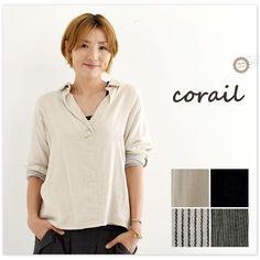 【corail コライユ】ットン ダブル ガーゼ キーネック ブラウス (3062840)