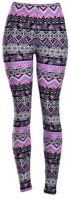 VIV Leggings - Lavender Aztec - Black Pink tribal leggings