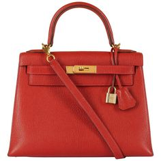 8227bb94bf Hermes Kelly 28cm in rare Chevre Mysore - Rouge  H  Leather with Gold  Hardware
