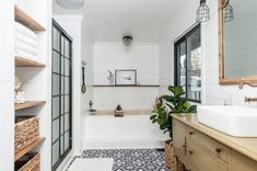 Farmhouse Bathroom / Modern Rustic / Vessel Sink / White Shiplap / Patterned Floor / Vintage Vanity / Tub Nook / Floating Shelves