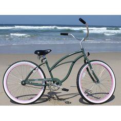 "-Firmstrong Urban Lady Limited Single Speed,  Army Green w/ Pink Rims - Women's 26"" Beach Cruiser Bike"